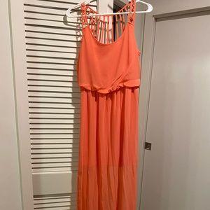 Socialite Coral Chiffon Maxi Dress (Small)